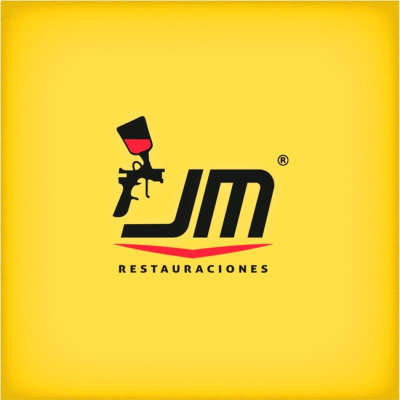 logo jm restauraciones negro con fondo amarillo