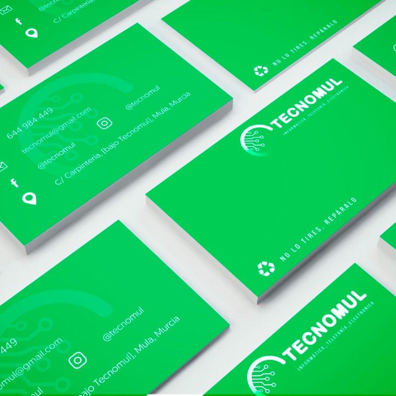 tarjeta de visita negocios tecnomul verde