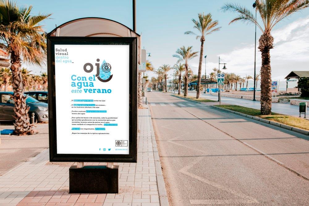 mupi parada autobus campaña salud visual en agua