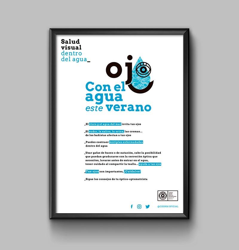 cartel blanco campaña salud visual con ojo forma de gota