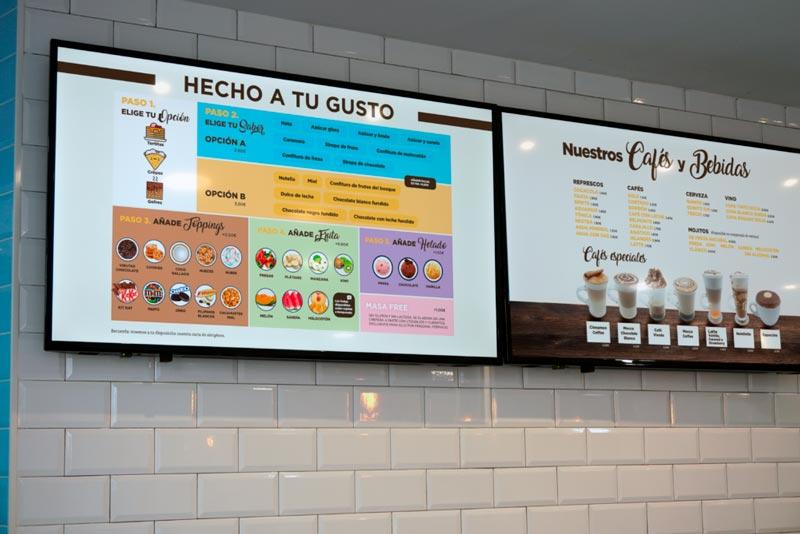 pantalla carta la creme creperie cafes y bebidas
