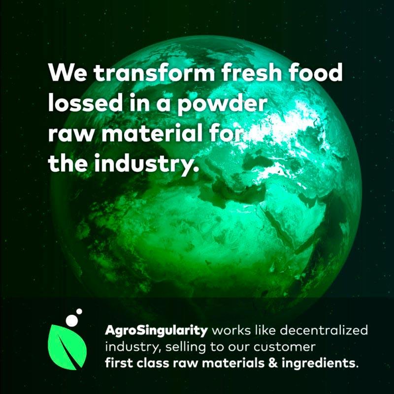 campaña alimentos desechados agrosingularity fondo negro mundo verde