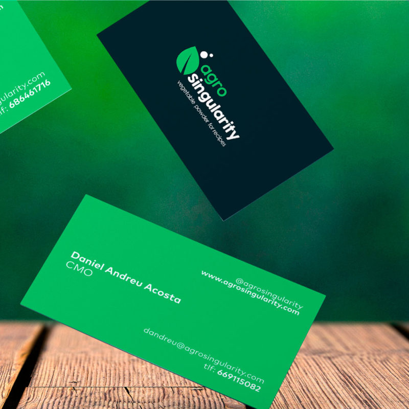 tarjeta de visita agrosingularity de cerca